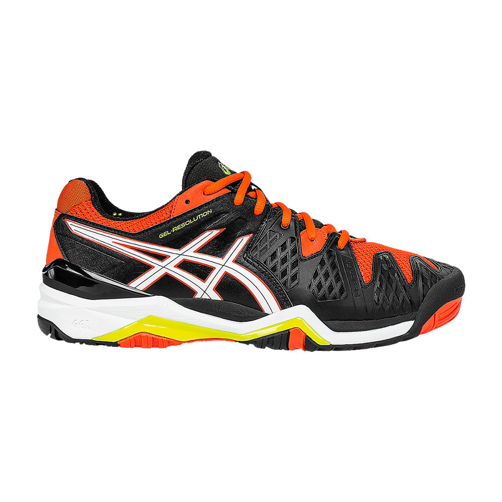 Tenis Tennis Asics Gel - Resolution 6 Cor: PTO / LAR / BCO - Tam: 44