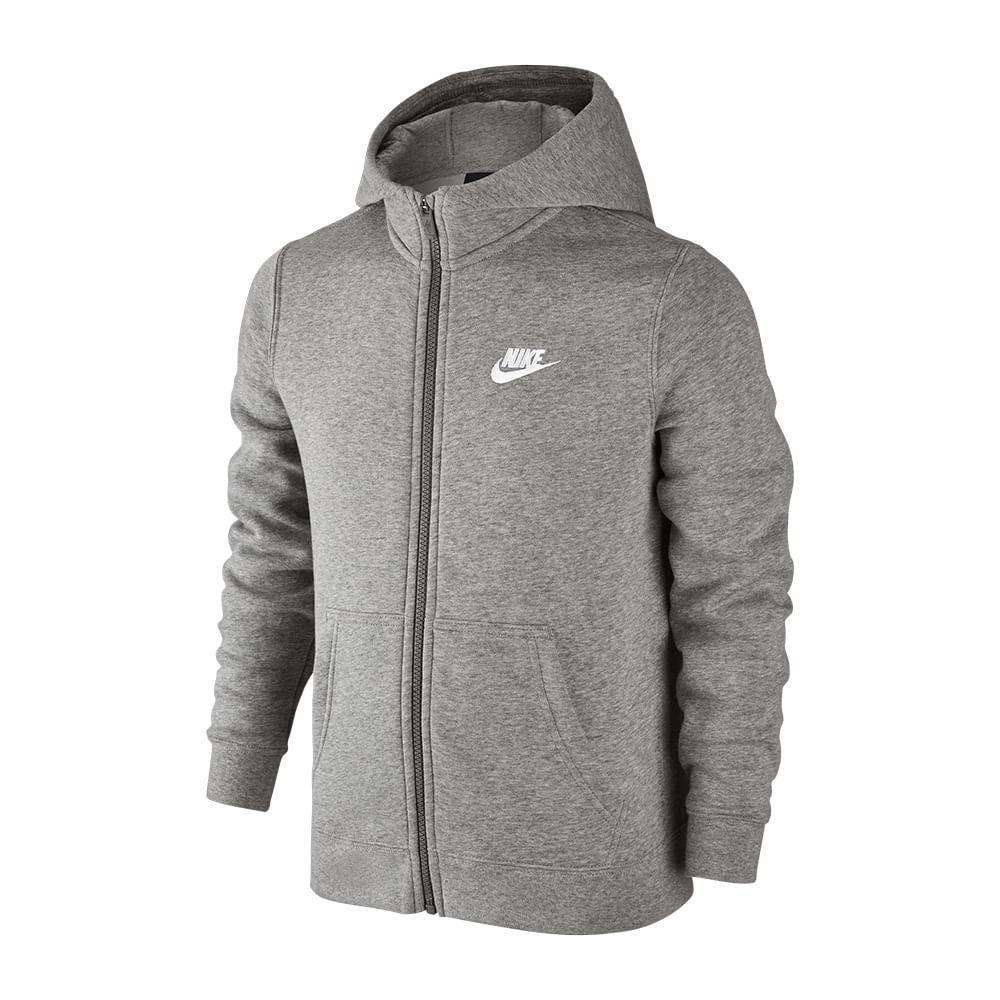 Blusa Nike Hoodie Fz Sportswear Club Infantil Cor: CZA - Tam: M