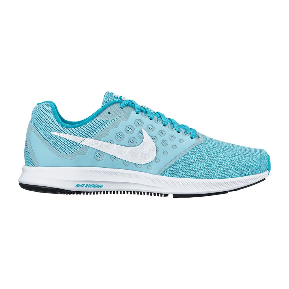 Tênis Running Nike Downshifter 7 Feminino Cor: CEL / BCO - 401 - Tam: 37